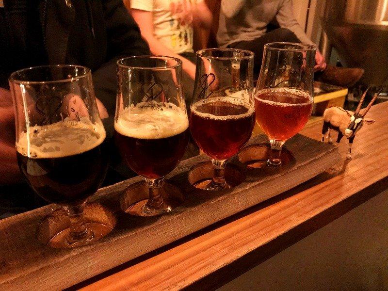 Strassenbraeu craft beer brewery Friedrichshain Berlin beer flight