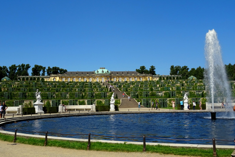 fountain and gardens Sanssouci Palace Potsdam day trip