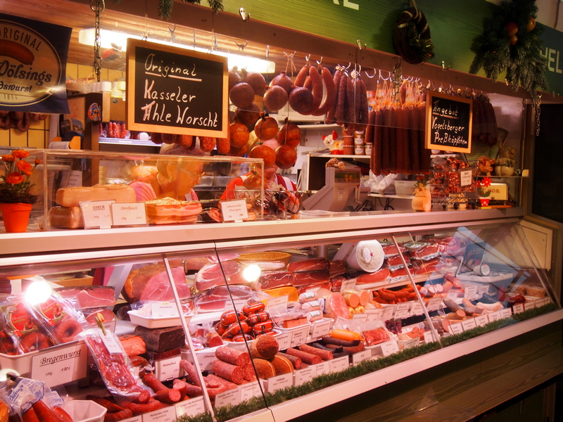 butcher shop with pork - what do people in Germany eat