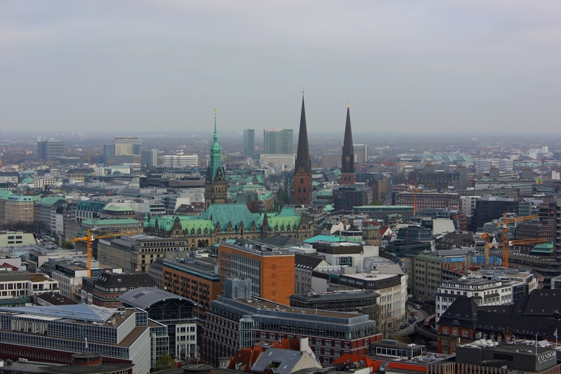view of Hamburg from St Micheals Cathedral