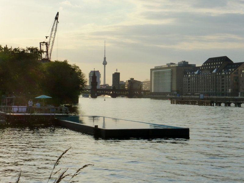 Berlin Badeschiff barge pool in Spree River