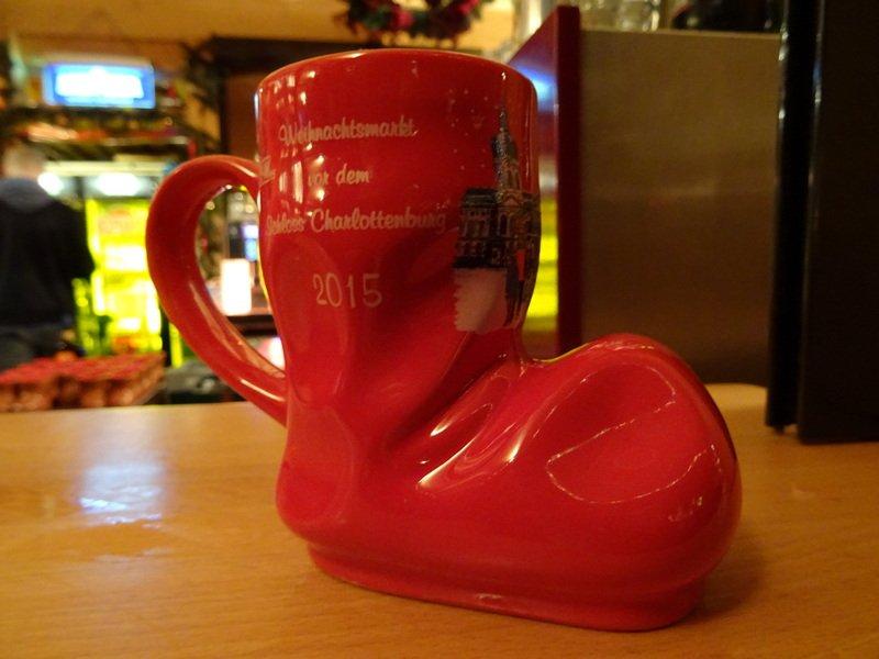 Charlottenburg Castle Christmas market in Berlin Gluhwein boot mug