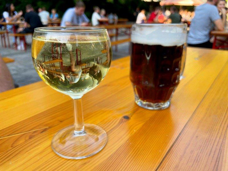 wine at beer gardens in Berlin